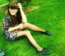 Zuzankita Koprdova - Ca Flowered Dress, Pimkie Black Glasses, Lindex Two Colored Tights, Ff Simply Shoes - Study and think