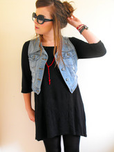 Lily Melrose - George At Asda Denim Wasitcoat, Ebay Knotted Rosary, Girlprops Half Tint Sunglasses, H&M 3/4 Length Dipped Back Dress - Polariods of polarbears