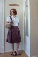 Kayla Dee - Orsay Shirt With Ruffles, Etam Brown Skirt, Bata Brown Lacquered Shoes, Gucci Brown And Beige Handbag, Babyliss Hairpin With Pearl Beads - A cooler version of myself...