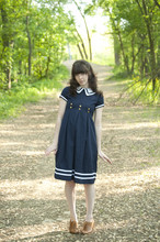 Aya Smith - Thrifted Sailor Dress, Chelsea Crew Brown Oxfords - Sailing Girl