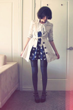 Sushi Girl - Zara Cat Print Dress, Valley Girl Trench Coat, Sportsgirl Over The Knee Socks, Sportsgirl Charlotte Heels - Obsession du jour: Miu Miu prints
