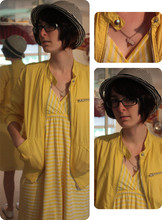 Marie L - Charlotte Russe White Flats, H&M Black And White Fedora, Forever 21 Yellow Jacket, Yellow And White Striped Dress, Tres Cute Lightning Necklace - The one that you wrecked won't take you back