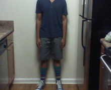 Hayden W - Bdg Y Neck, Volcom Shorts, True Religion Multi Colored Socks, Converse Hi - Oh shit! wheres my head