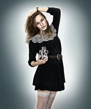 Genie Miller - Good Black Dress, Leather Woven Belt, Stay Ups, Turret F/1.9.8mm Vintage Movie Camera - Lights and music