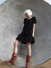 Biz C - American Apparel Tunique, Express Skirt, The Frye Company Slouch Engineer Boots - Whisper
