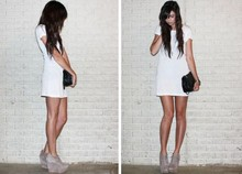 Caylee M. - H&M T Shirt Dress, Topshop Suede Wedges, New York & Company Quilted Bag - Three easy pieces.