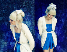 Kerti P. - Selfmade White Lace Bow, House Cardigan, Frontrowshop Blue Dress With Floral Detailing - Your heart is an empty room with walls of the deepest blue.