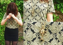 Sammy Small - Topshop Bird And Birdhouse Necklace, Thrifted Floral Embroidered Top, Topshop Bodicon Skirt - Birds can fly so high and they can shit on your head
