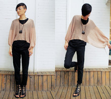 Morly King - Diy Necklace, The Sleeves, H&M Tee, Cheap Monday Cheapmonday, Gladiator Shoes - Cloudy day