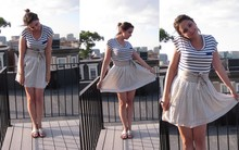 Rebecca F. - Forever 21 Top, Anthropologie Skirt, H&M Belt, Jack Rogers Sandals - Patterned Perfection