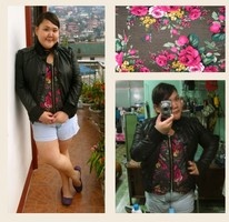 Madel Ching - Red Herring Black Leather Jacket, Hot Topic Faded Denim Shorts, Maple, Hong Kog Cardigan/ Blouse, Crocs Ballet Flats - Edge it out