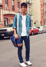 Jack A - Coach Messenger Bag, Topman Denim Polo, Topman Necklace, Jockey V Neck, Topman Indigo Jeans, Zara High Cut Sneakers - New york, New york!