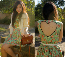 Jessica Tran - Thrifted Cardigan, Thrifted Bagggg, Amourette By Amie Mai Amaizng Amazing Amazing Heart Dress, Thrifted Belt, Asos T Bar Flats - Dead Hearts