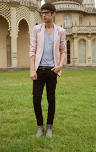Adrian Cano - Red & White Blazer, Grey T Shirt, Skinny Jeans, Grey Boots - It might be...