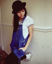 Stefany A - Camden Market Dungarees, Primark Hat - Lemon juice and paper cuts