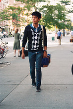 Jack A - Topman Dark Blue Polo, Bench Cardigan, Topman Indigo Skinny Jeans, Coach Messeger Bag, Zara Black Suede Shoes - Westvillage, New York!