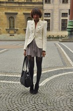 Michelle G. - Jacket., Dress., Henry Holland For Pretty Polly. Tights., Studded Bag. - Welcome back, rainy days !