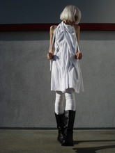 Biz C - Complexgeometries Choke Dress, Anzevino & Florence Extra Long Leggings, Ann Demeulemeester Boots - Squiggle