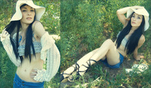 Valeri Kimbro - Arc Floppy Hat, 21 Halter, Arc Shawl, Flip Skort, Bjorndal Lace Up Wedges - Down by the River