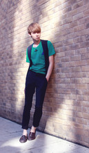 Elvin Feng - Cos T Shirt, Cos Belt, Asos Trousers, Dune Leather Shoes, Vivienne Westwood Necklace - GREEN LIGHT
