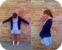 Jessica N - Thrifted Navy Cardigan, Thrifted Pinstriped Dress, Thrifted Salmon Flats, Grandma Pearl Necklace - High Street Honkers