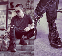 Dennis Robles - Dr. Martens Limited Ed Dr, Human Tattered Pants, Alexander Mcqueen Printed Shirt, Louis Vuitton Evidence Sunnies, Goyard Croisiere 45 - Look # 257