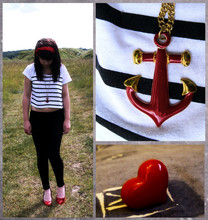 Daisy Post - New Look Sailor Crop Top, Accessorize Anchor Necklace, Primark Heart Ring, Primark Black Leggings, New Look Red Heels - What shall we do with the drunken sailor?