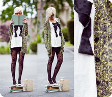 Kelli Murray Larson - American Apparel Skirt, Urban Outfitters Sweater, Anthropologie Tights - Book Eater