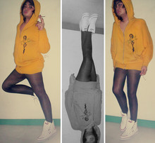 Jourdane E. - Mustard Yellow Hoodie, Black Leggings, High Top Sneakers, Cigarette Baby! - I hear raindrops hitting the ceiling of my roof and I can't go out, good thing i have cigs with me.