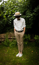 Jack Spicer Adams - Second Hand Shop Straw Hat, Second Hand Shop Bow Tie, M&S White Shirt, Topman Chinos, H&M White Pumps - Wheat.