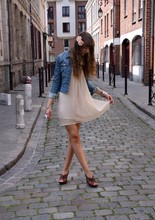 Ines Raskolnikov - H&M Flowers, Vintage Denim Jacket, Vintage Dress, Bata Shoes - First love, Last love, Only love.
