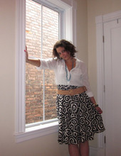 Rebecca F. - Madewell Blouse, J.Crew Skirt, Club Monaco Belt, Urban Outfitters Necklace - Swirly Skirt