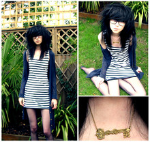 Rebecca B King - H&M Long Striped Top, H&M Long Navy Cardigan, Sugar & Vice Key Necklace - I think i was blind before i met you