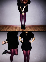 Fiona Finn T - Thrifted Xxxl, Wine Purple Stockings, Thrifted Oxford Heels - Deadweight,