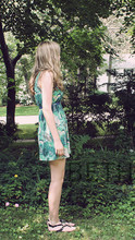 Beth Manet - H&M Hummingbird Dress, Medallion Sandals, Forever 21 Blue Skinny Belt - Those hummingbirds all in your hair