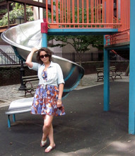 Rebecca F. - Anthropologie Dress, J.Crew Chambray Shirt, Jack Rogers Sandals, Chanel Sunglasses - Still a Child at Heart