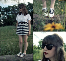 Maria C. - From Mom Vintage Saddle Shoes, Thrifted Vintage Blouse, Forever 21 Striped Skirt, Oliver Peoples Zooey Sunglasses - Monochrome Delights