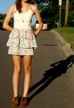 Isabel G - Urban Outfitters Ruffle Skirt, Minnetonka Moccasins - Bird of the Summer