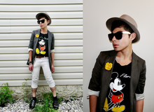 Julio Cesar - Vintage Hat, Super Sunglasses, Vintage Flower Brooch, Zara Blazer, Cheap Monday White Cropped Pants, Aldo Shoes - Hey, Mickey!