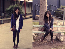 Justine X - Korea Blue Cardi, Temt White Top, Topshop Bleached Shorts, Vintage Black Tights, Lace Up Boots, Vintage Bag - Wasted Daylight