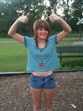 Jodi Swiney - Forever 21 Striped Crop Top, Platos Closet Multi Colored Necklace, Denim Shorts - Thumbs up.