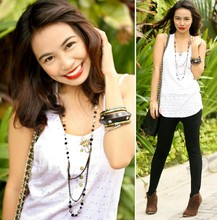 Marj Ramos - Black Chained Bag, Amientottie Accessories Necklace, Girlshoppe Bangle Set, Black Leggings, B Club Brown Boots, Mango White Top, Plains & Prints White Undershirt - I'm just a rockstar wanna-be! ♥