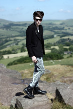 Joel Mcloughlin - Asos Cat Eye Sunglasses, Sharp Shoulder Blazer, Hare Monochromatic Harems, Dr. Martens 8 Hole Lace Ups - Dead Disco Dancer