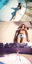 Zoey R - But By Myself Cut Off Jean Shorts, Diane Von Furstenberg Swimsuit Top, Ray Ban Clubmasters - Old skool (zoom in)