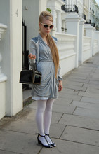 Alxndra Cook - Miu Patent Shoes, Reiss Cream Sunglasses, Ted Baker Cardigan, Reiss Grey Wrap Dress/Cardigan, Vintage Box Bag, American Apparel White Tights - Www.facebook.com/sistergracie.uk