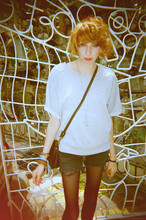 Dani Tauber - Forever 21 Embellished Crew Neck, Homemade Denim Cutoffs, Apt 9 Nylon Tights, Converse Hobo Bag - Philadelphia freedom