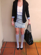 Heather J. - Black Oversized Bag, Grey Cuff Blazer, White Ruffle Top, High Waisted Denim Skirt, Grey Knee Socks, Black Pumps, Pearl Bracelet - Lost under the surface