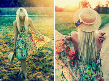 Kerti P. - Sheer Floral Dress, Vintage Straw Hat, Selfmade Lace Bow, Cornflowers - I wish I had a mango tree.