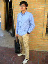 Jonathan Li - Five Four Chambray Shirt, H&M Khaki Pants, Nooka Watch, Sperry Top Sider Boat Shoes, K Swiss Black Plastic Frame Glasses, Jack Spades Tote/Shoulder Bag - West Coast Preppy??