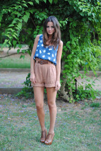 Zina CH - Zara Dress/Top, Salmon High Waisted Shorts, Zara Wedges - Innocent